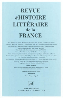 Revue d'histoire littéraire de la France, n° 4 (2011) -