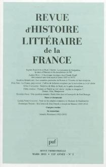 Revue d'histoire littéraire de la France, n° 1 (2013) -