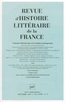 Revue d'histoire littéraire de la France, n° 3 (2013) -