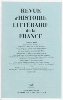 Revue d'histoire littéraire de la France, n° 4 (2013) -