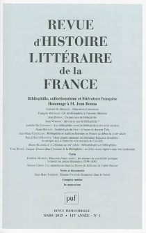 Revue d'histoire littéraire de la France, n° 1 (2015) -