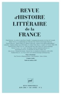 Revue d'histoire littéraire de la France, n° 2 (2016) -