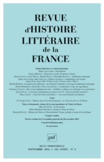 Revue d'histoire littéraire de la France, n° 3 (2016) -