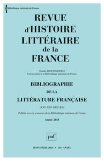 Revue d'histoire littéraire de la France, hors série, n° 2016 - MonikaProchniewicz