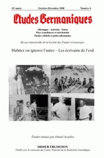 Etudes germaniques, n° 252 -