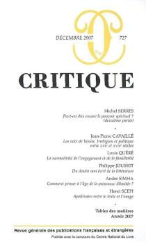 Critique, n° 727 -
