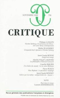Critique, n° 750 -