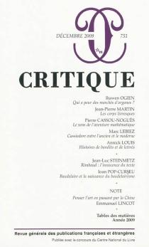 Critique, n° 751 -