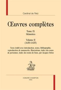 Mémoires| Oeuvres complètes - Jean-François Paul de GondiRetz