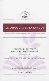 Discours et la langue (Le), n° 7-1 -