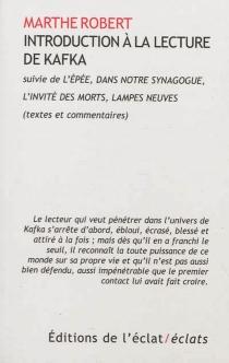 Introduction à la lecture de Kafka| Suivi de L'épée| Dans notre synagogue - FranzKafka