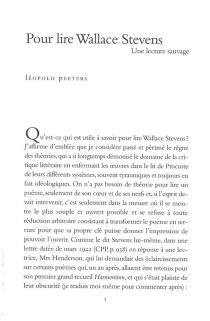 Pour lire Wallace Stevens : une lecture sauvage - LeopoldPeeters