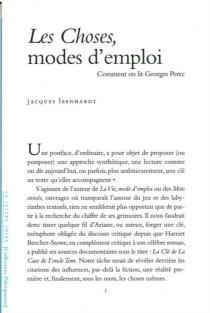 Les choses, modes d'emploi : comment on lit Georges Perec - JacquesLeenhardt