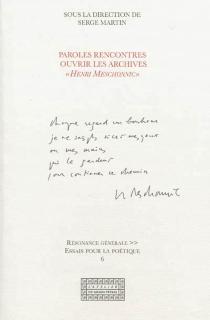 Paroles rencontres : ouvrir les archives Henri Meschonnic - Paroles rencontres ouvrir les archives Meschonnic )