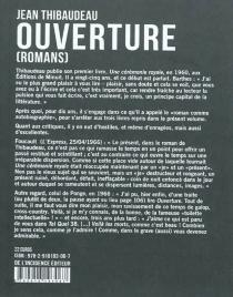 Ouverture : romans - JeanThibaudeau