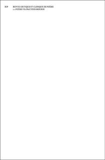 RIP, revue critique et clinique de poésie, n° 1 -