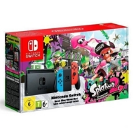 console Nintendo Switch (avec un Joy-Con rouge néon et un Joy-Con bleu néon) et Splatoon 2 (SWITCH)