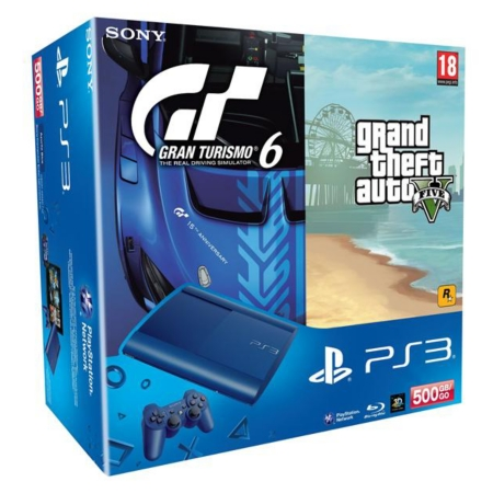 pack console playstation 3 500go bleue gran turismo 6 grand theft auto v ps3 consoles. Black Bedroom Furniture Sets. Home Design Ideas