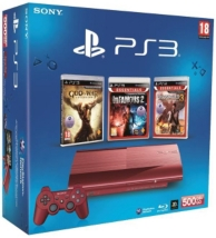 pack console playstation 3 (500go) rouge, gow ascension, infamous2 et uncharted 3 (PS3)