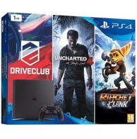 pack Playstation 4 (1To) noire, Uncharted 4, DriveClub et Ratchet et Clank (PS4)