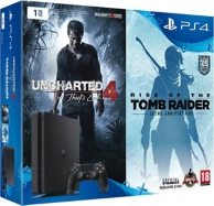 pack console playstation 4 slim (1To) et Uncharted 4 et Rise of the Tomb Raider - Black (PS4)