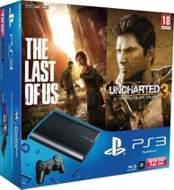pack console Playstation 3 (12 Go) noire, the last of us (GOTY) et uncharted 3 (Essentials) (PS3)
