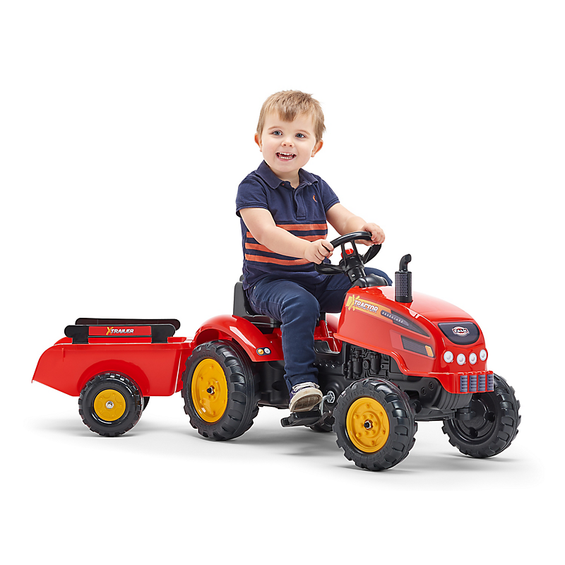 Tracteur à pédales X TRACTOR Rouge avec capot ouvrant et remorque