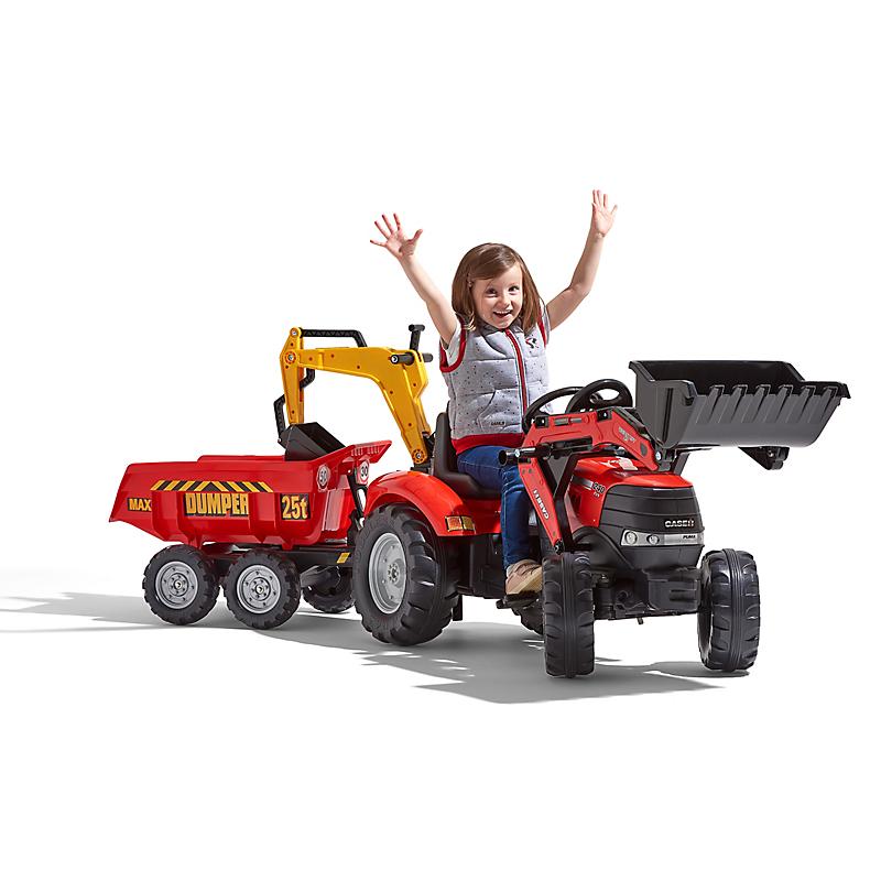 Tractopelle à pédales enfant Case IH + excavatrice + remorque basculante - FALQUET