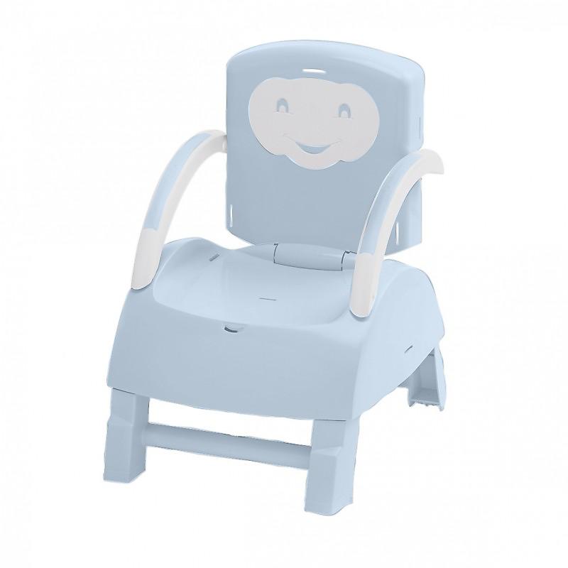 Rehausseur de chaise évolutif 2 en 1 bleue/blanc cassé THERMOBABY