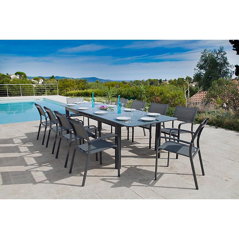 Table de jardin Milos grise extensible en aluminium pour 10/12 personnes