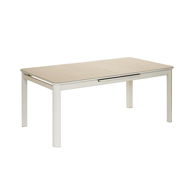 Table de jardin Milos ivoire extensible en aluminium pour 8/10 personnes