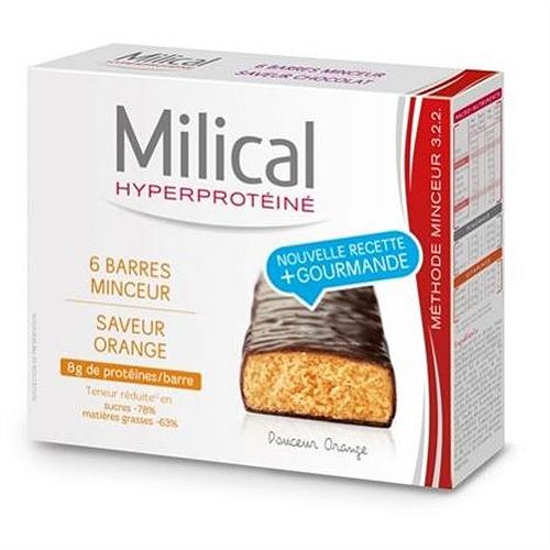 Barres hyperprotéinées minceur saveur chocolat et orange x6