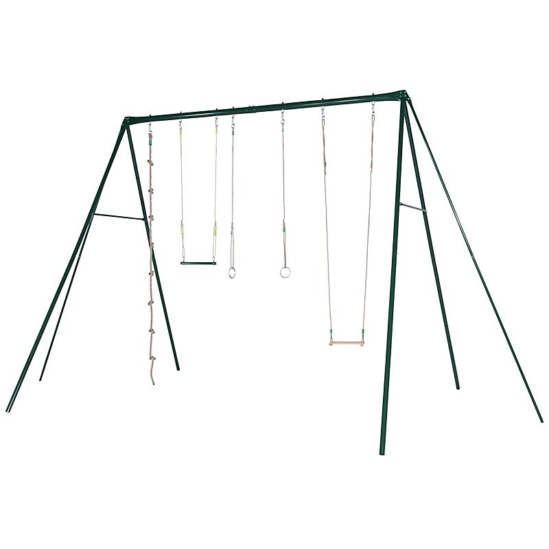 Portique métal 4 agrès+ balançoire + corde + paire d'anneaux + trapèze