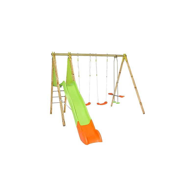 Portique Bois/Métal TECHWOOD 2,30 m² balançoires, plateforme et toboggan