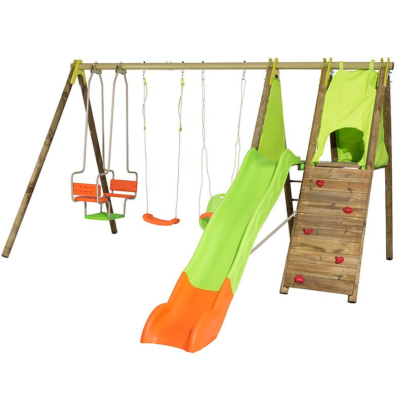 Aire de jeux bois/métal 3 agrès + toboggan TECHWOOD KALPA
