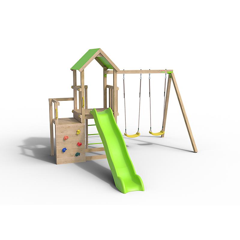 Aire de jeu en bois double plateforme ULTRA XPERIENCE - Portique 2.20m et plateformes 1.20 et 0.98m