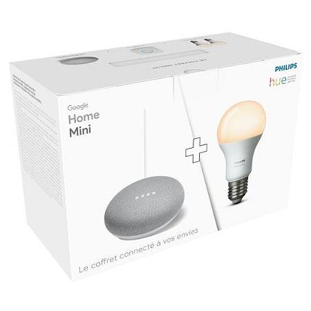 pack connect google google home mini 2 ampoules hue e. Black Bedroom Furniture Sets. Home Design Ideas