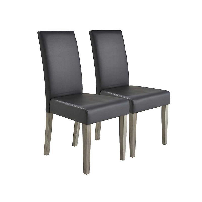 Lot de 2 chaises NAMUR gris foncé