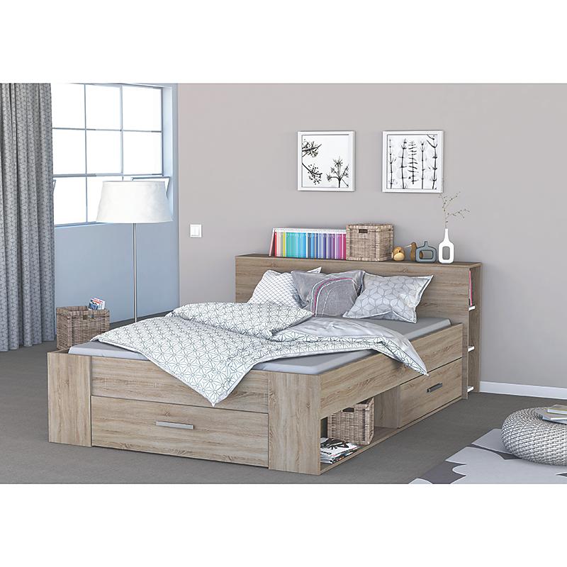 Cadre de lit avec rangement POCKET chêne 140 x 190 cm