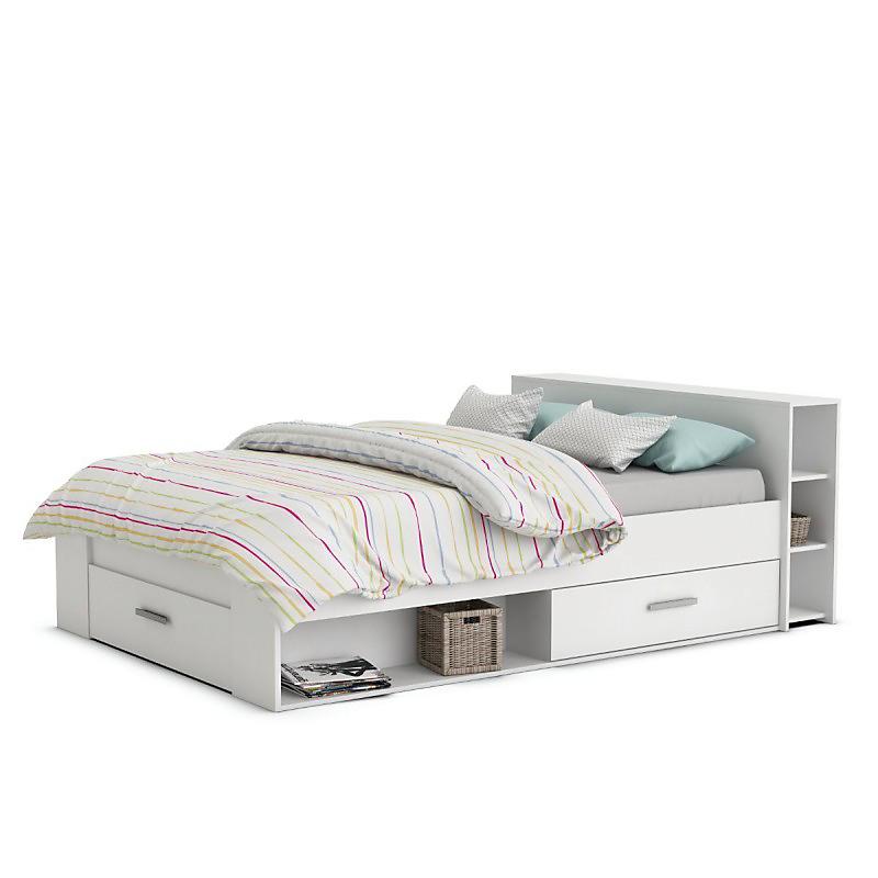 Cadre de lit avec rangement POCKET blanc 140 x 190 cm