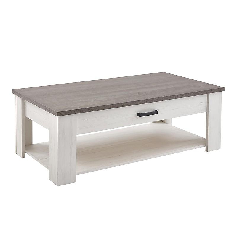 Table basse MARQUIS 120 x 64 cm en panneau de particules et chêne prata