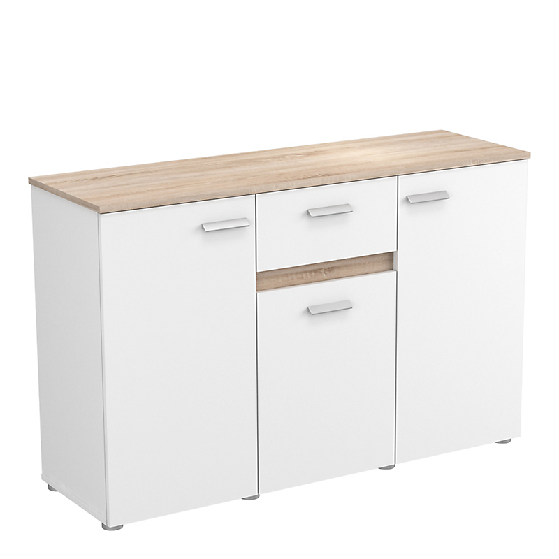 Buffet 3 portes/1 tiroir chêne brossé/blanc mat EVOLUTION