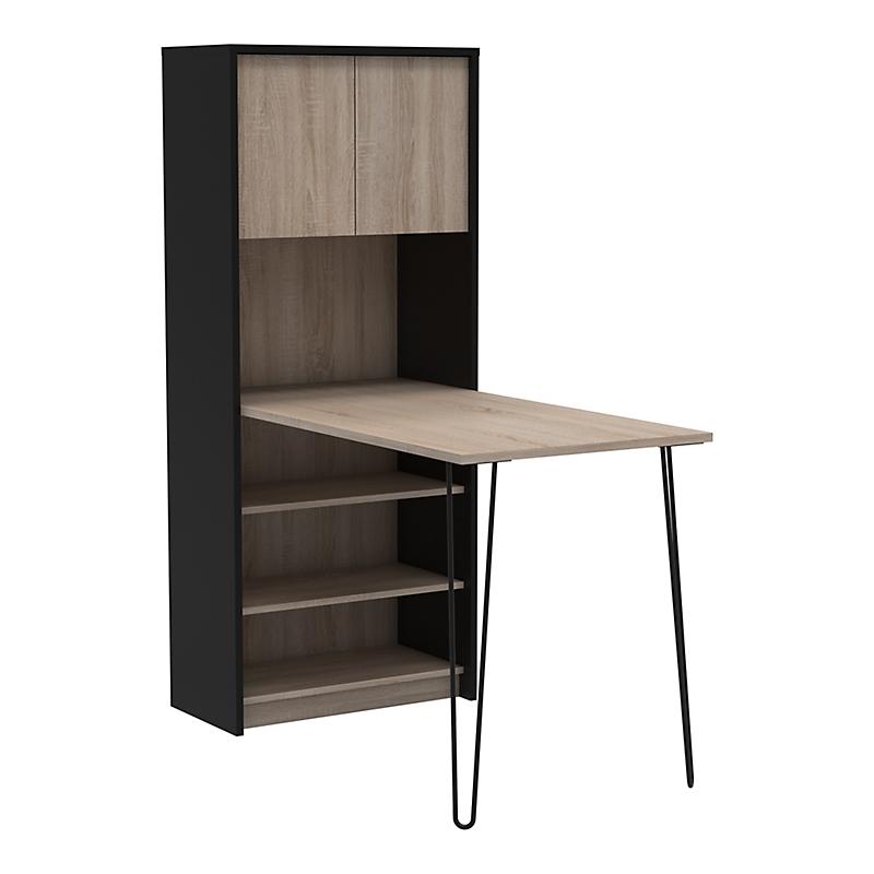 Bureau bibliothèque Chêne/Noir LEXIUS
