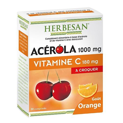 Acerola 1000 goût orange, 30 comprimés