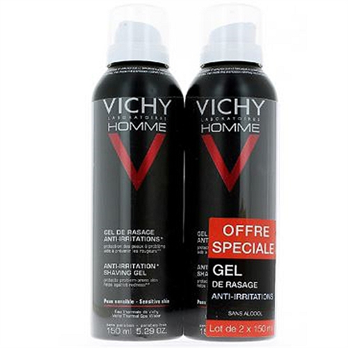 Vichy Homme gel de rasage anti-irritations 2x150ml