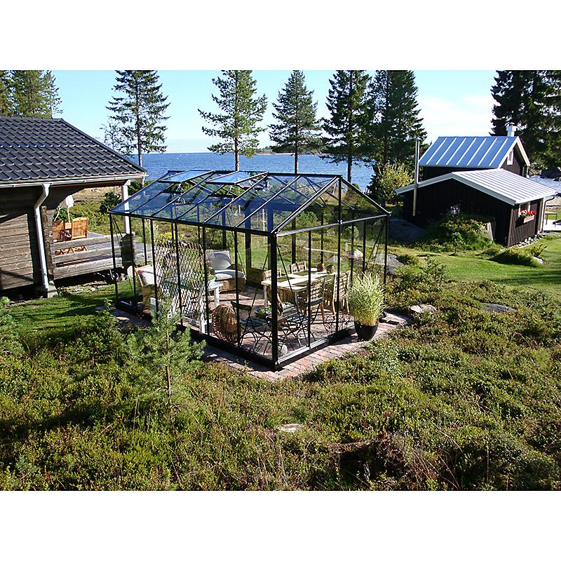 Serre de jardin aluminium laqué noir 14,12 m²
