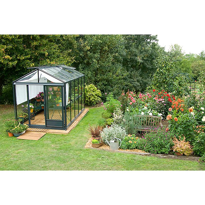 Serres de jardin polycarbonate laque vert 7,29 m²