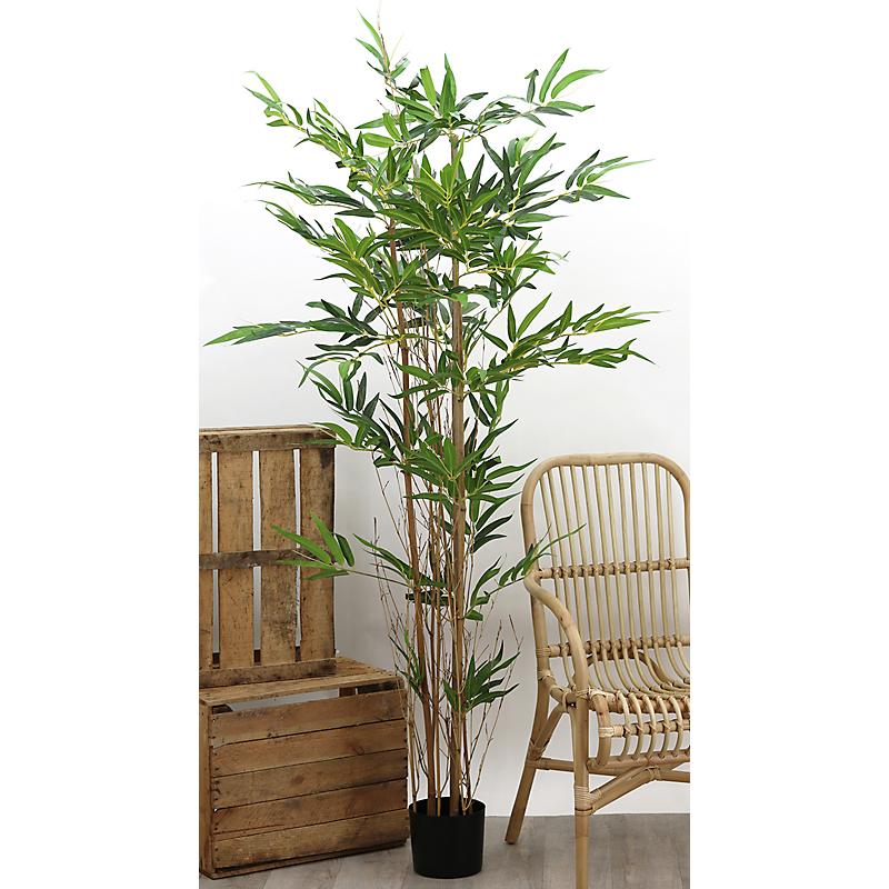 Bambou artificiel 3 troncs naturels 480 feuilles - H180cm