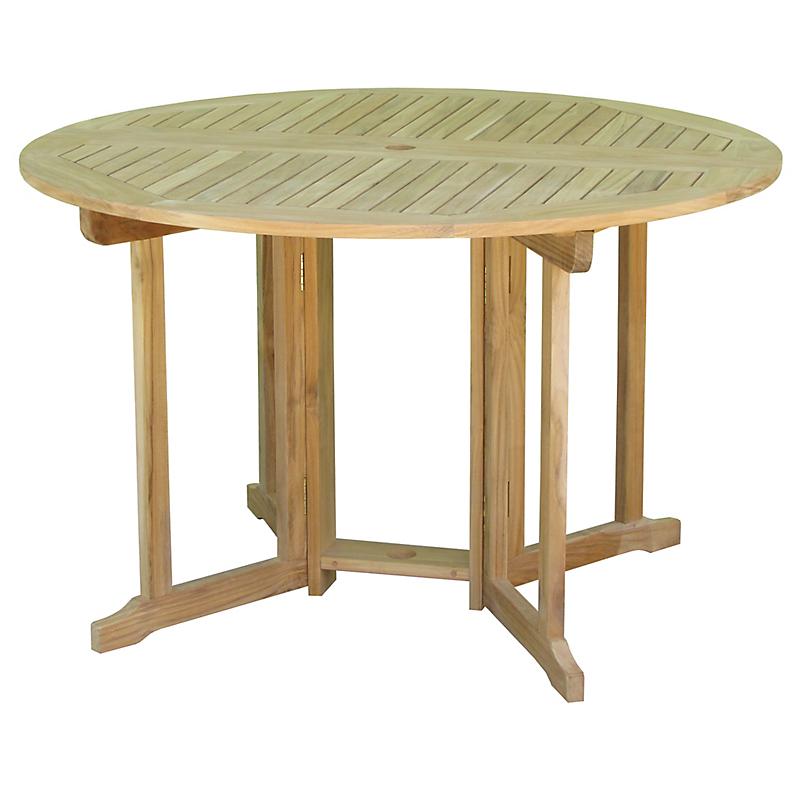 Table de jardin ronde en teck pliante