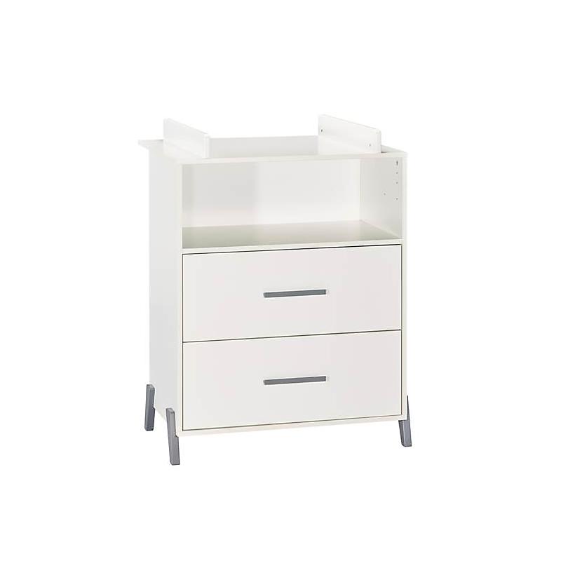 Commode à langer 2 tiroirs et 1 niche pieds gris - JOY GRIS